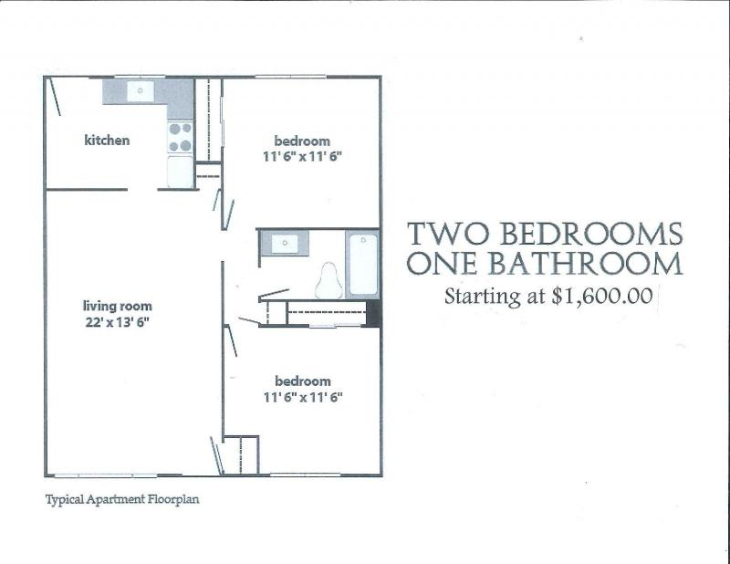 Ambassador providence two bed one bath apartments for Apartment 1 bedroom 1 bathroom
